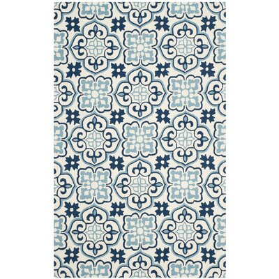 Back East Hand-Hooked Blue/Ivory Indoor/Outdoor Area Rug Rug Size: 8 x 10