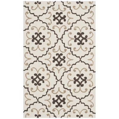 Back Forty Hand-Hooked Ivory/Gray Indoor/Outdoor Area Rug Rug Size: Rectangle 5 x 8