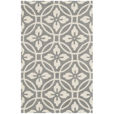 Baranof Hand-Hooked Gray/Ivory Indoor/Outdoor Area Rug Rug Size: Runner 23 x 8