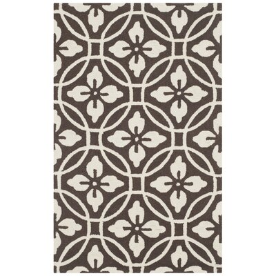 Bayou Hand-Hooked Chocolate/Ivory Indoor/Outdoor Area Rug Rug Size: 36 x 56