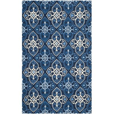 Blacksmith Hand-Hooked Navy/Ivory Indoor/Outdoor Area Rug Rug Size: 36 x 56