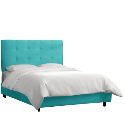 HooDoo Upholstered Panel Bed Color: Premier Azure, Size: California King
