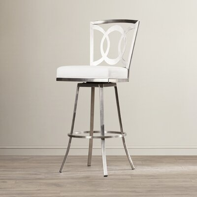 Chuckanut 30 inch Swivel Bar Stool Upholstery: White