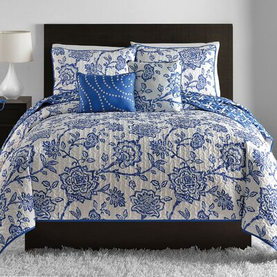 Earlybird 5 Piece Reversible Coverlet Set Size: King, Color: Blue