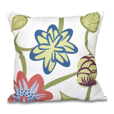 Denizens Tropical Floral Print Throw Pillow Size: 16 H x 16 W, Color: Navy Blue