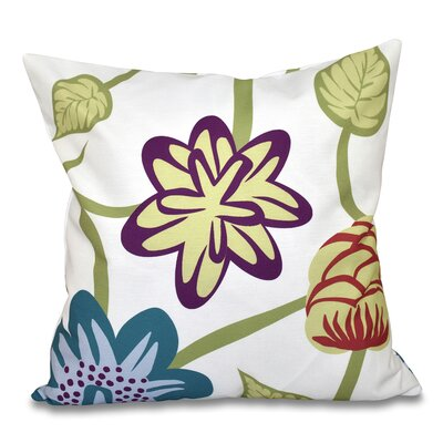 Denizens Tropical Floral Print Throw Pillow Size: 18 H x 18 W, Color: Teal