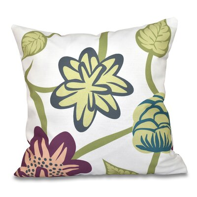 Denizens Tropical Floral Print Throw Pillow Size: 26 H x 26 W, Color: Purple