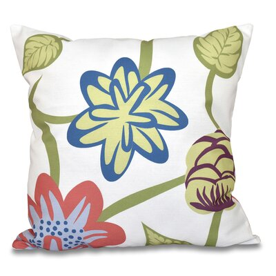Engine House Tropical Floral Outdoor Throw Pillow Size: 18 H x 18 W, Color: Navy Blue