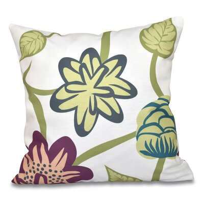 Engine House Tropical Floral Outdoor Throw Pillow Size: 18 H x 18 W, Color: Purple