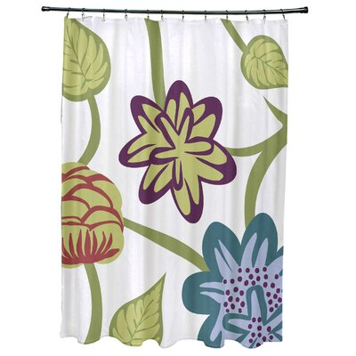Anurima Tropical Floral Print Shower Curtain Color: Teal