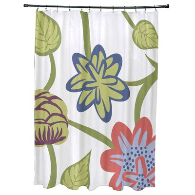 Grovetown Tropical Floral Print Shower Curtain Color: Coral