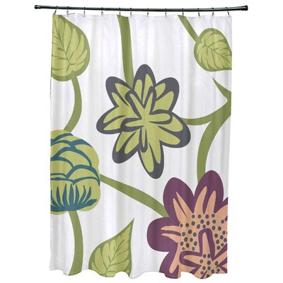 Grovetown Tropical Floral Print Shower Curtain Color: Purple