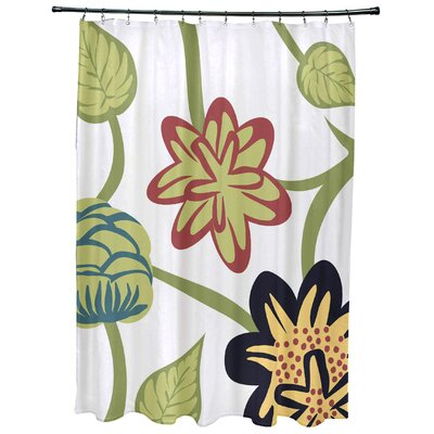 Grovetown Tropical Floral Print Shower Curtain Color: Navy Blue