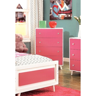 Sea Dog 4 Drawer Chest Color: Pink/White