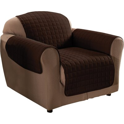 Box Cushion Armchair Slipcover Upholstery: Chocolate