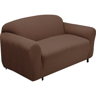 Box Cushion Loveseat Slipcover Upholstery: Cocoa