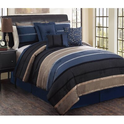 Star City 7 Piece Reversible Comforter Set Size: King, Color: Blue