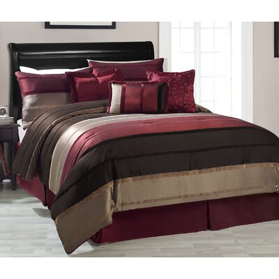 White Marsh 7 Piece Reversible Comforter Set Color: Red, Size: Queen