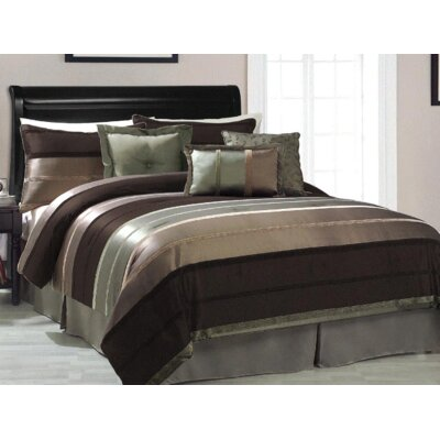 White Marsh 7 Piece Reversible Comforter Set Color: Green, Size: Queen