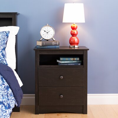 Yards 2 Drawer Nightstand Color: Washed Black
