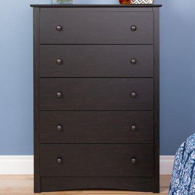 Yards 5 Drawer Dresser Color: Washed Black