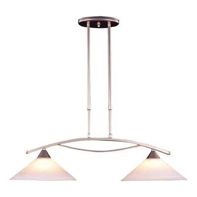 Hagins 2-Light Kitchen Island Pendant Finish: Satin Nickel