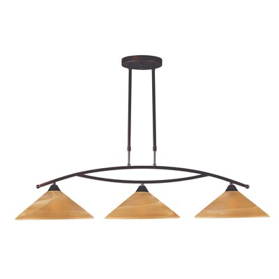 Beecroft 3-Light Shaded Kitchen Island Pendant Finish: Aged Bronze