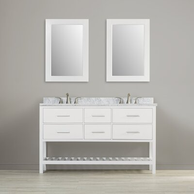 Middletown 61 Double Bathroom Vanity Set with Mirror Base Finish: White