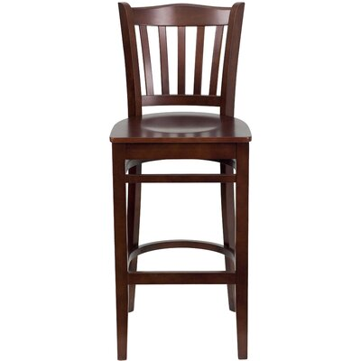 Orlison 29.5 Bar Stool Upholstery: Mahogany Wood