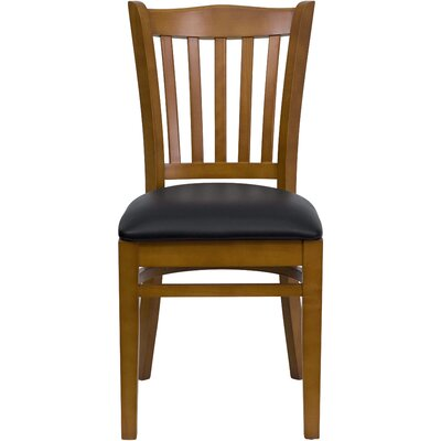 Orlison Side Chair Seat Finish: Black Vinyl, Finish: Cherry