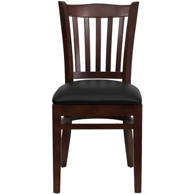 Orlison Side Chair Seat Finish: Black Vinyl, Finish: Mahogany