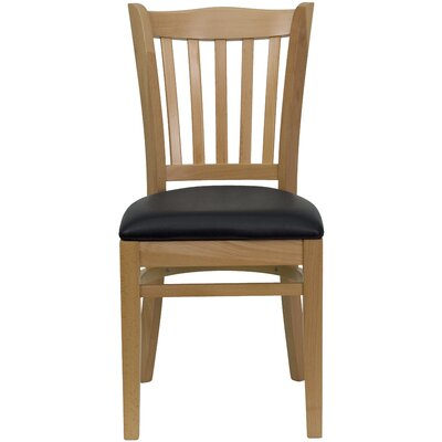 Orlison Side Chair Seat Finish: Burgundy Vinyl, Finish: Natural Wood