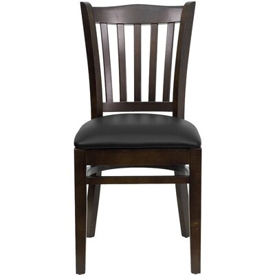 Orlison Side Chair Seat Finish: Black Vinyl, Finish: Walnut