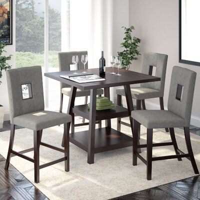 Burgess 5 Piece Counter Height Dining Set Upholstery: Pewter Grey