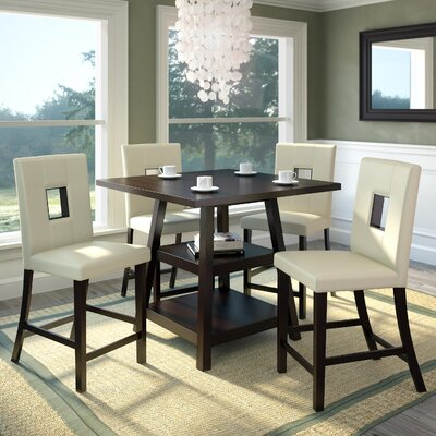 Burgess 5 Piece Counter Height Dining Set Upholstery: White Leatherette
