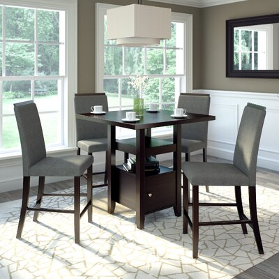 Burgess 5 Pieces Counter Height Dining Set Upholstery: Pewter Grey