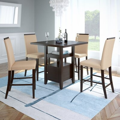 Burgess 5 Pieces Counter Height Dining Set Upholstery: Desert Sand