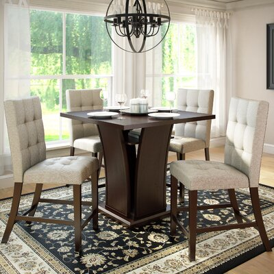 Burgess 5 Piece Counter Height Dining Set Upholstery: Platinum Sage