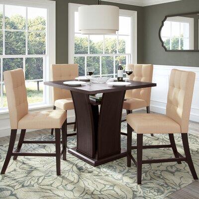 Burgess 5 Piece Counter Height Dining Set Upholstery: Desert Sand
