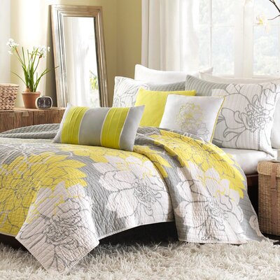 Broadwell 6 Piece Reversible Coverlet Set Size: King, Color: Yellow
