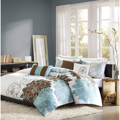 Broadwell 6 Piece Print Reversible Duvet Cover Set Size: Full / Queen, Color: Blue / Brown