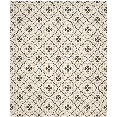 Back Forty Hand-Hooked Ivory/Gray Indoor/Outdoor Area Rug Rug Size: Rectangle 8 x 10
