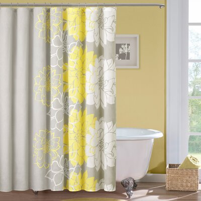 Broadwell Cotton Shower Curtain Color: Gray / Yellow