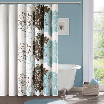 Broadwell Cotton Shower Curtain Color: Blue / Brown