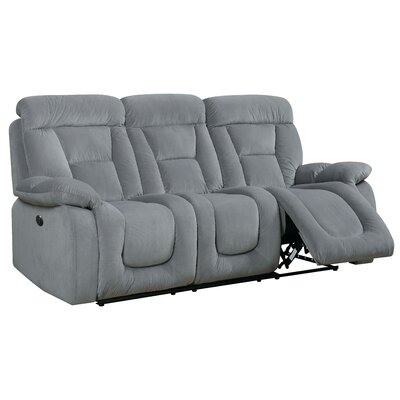 Westminster Reclining Sofa Type: Power, Upholstery: Gray