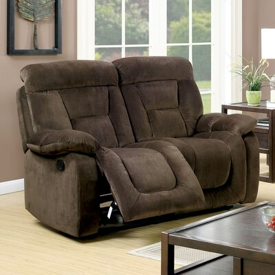 Westminster Reclining Loveseat Type: Manual, Upholstery: Brown