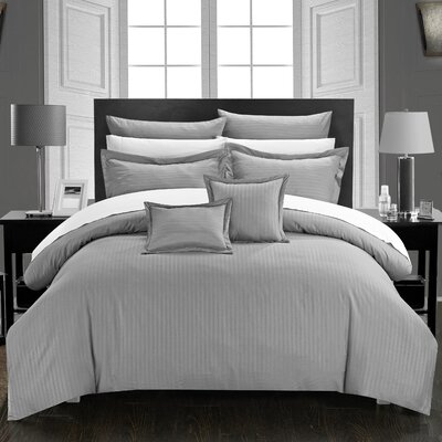 Seelye Comforter Set Size: Twin, Color: Silver