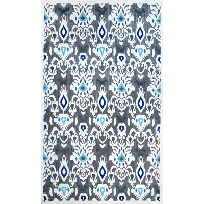 Ikat Cranebrook Machine Made Gray/Blue Outdoor Area Rug Rug Size: Rectangle 5 x 8