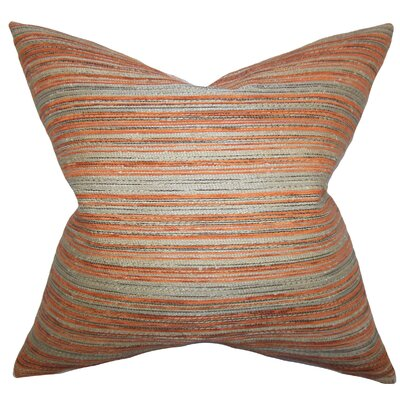 Bourdeau Stripes Throw Pillow Color: Orange, Size: 18x18