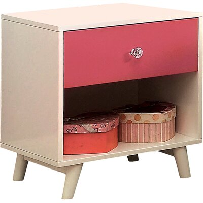 Sea Dog 1 Drawer Nightstand Color: Pink/White